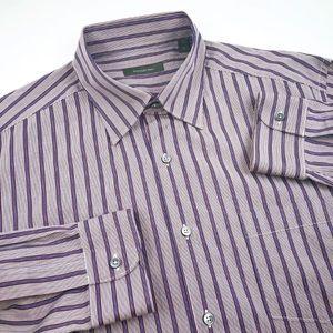 Ermenegildo Zegna Striped Button Dress Shirt Sz XL